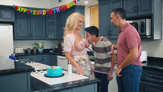 Busty Hot Blonde Mom Seduces Her Son's Friends!